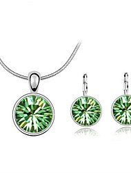 Jewelry Set Classic Elegant Crystal Unique Design Round Pendant Necklace Earrings Girlfriend Gift