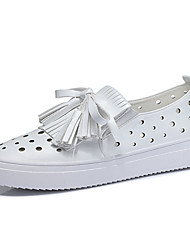 Белый / Серебристый-Женская обувь-Для офиса / Для праздника / На каждый день-Дерматин-На плоской подошве-Удобная обувь-Кроссовки