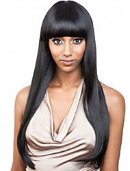 African Black Wig Fashion Female Long Hair Neat Bang Chemical Fiber Wigs