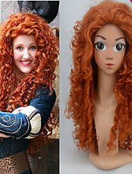 Movie Brave Merida Long Curly Orange Heat Resistant Cosplay Wigs Good Shape Cos Wig