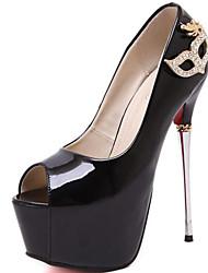 sapatos femininos stiletto sintética sandálias peep toe casamento / partido&de noite / vestido / ocasional preto