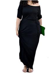 Women's Plus Size Solid Plus Size Dress,Off Shoulder Knee-length Polyester