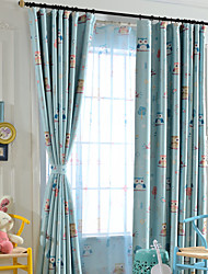 (One Panel)Polyester Cartoon The Owl Paradise Print  Room Darkening Curtain for Kids