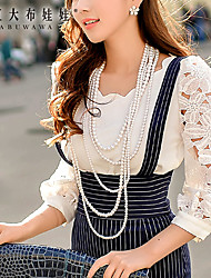 Women's White Shirt , Long Sleeve Petal Collar Lace  Pierced Tops