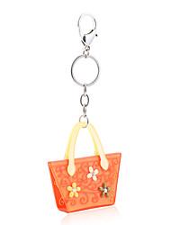 2015 New Fashion Key Chain Women Acrylic Orange Grey Rhinestone Ladies Keyrings