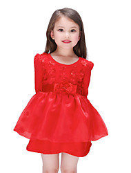 Girl's Pink / Red Dress , Floral Polyester Summer