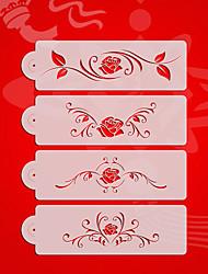 Rose Design2# Valentine Wedding Cake Stencil Set,Plastic Cake Side  Stencil Stencil,Fondant Cake Tools  ST-3176