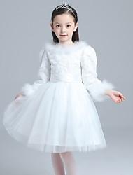 A-line Knee-length Flower Girl Dress - Lace / Satin / Tulle 3/4 Length Sleeve