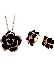 Jewelry Set Elegant Crystal Rose Flower Pendant Necklace Earrings Girlfriend Gift