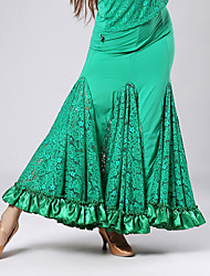 High-quality Lace with Pleated Ballroom Dance Skirts for Women's Performance (More Colors)