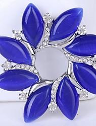 blu cristallo strass fiore pin spilla all'ingrosso per le donne, multicolore simpatico foglio di modo spille ragazze