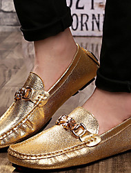 Men's Shoes Wedding / Office & Career / Party & Evening / Dress / Casual Leather Loafers Silver / Gold