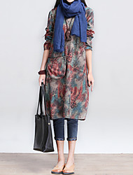 Women's Vintage / Casual / Day Color Block / Print / Patchwork Loose Dress , Round Neck Knee-length Cotton / Linen