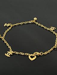 cheville pieds nus inoxydable bijouterie en acier de pied de la chaîne d'or de 18 carats à la mode (1pc)