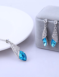 Jewelry Set Shining Crystal Tear Shape Pendant Necklace Earring(Assorted Color)