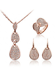 Jewelry Set Classic Elegant Crystal Unique Design Water Drop Pendant Necklace Earrings Ring Girlfriend Gift