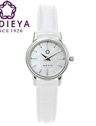 marque kedieya cuir imperméable nacre blanche montre des femmes de quartz
