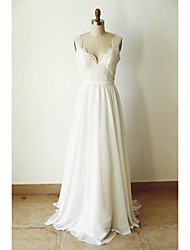 A-line Wedding Dress Court Train Straps Chiffon with Appliques / Button / Sash / Ribbon