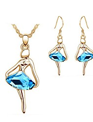 Jewelry Set Classic Elegant Crystal Unique Design Dancing Girl Pendant Necklace Earrings Girlfriend Gift