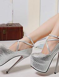 Women's Shoes Synthetic Stiletto Heel Heels Heels Wedding /Office & Career / Party & Evening/Dress/Casual Black/Silver