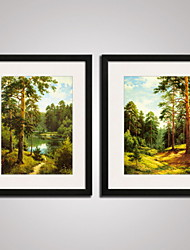 Framed Sprint Forest Painitng Canvas Print Art Set of 2 for Wall Decoration Ready To Hang