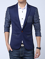 Men's Fashion High Quality Striped Sleeves One-Buckle Slim Fit Suit