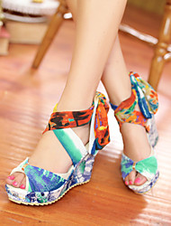 Women's Shoes Leatherette Platform Wedges / Heels / Platform Sandals / Heels Outdoor / Dress / Casual Red / Almond