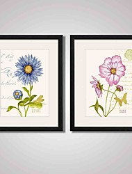 Framed Blue and Pink Flower  Modern Canvas Print Art for Office and Living room Decoration Set of 2 Ready To Hang
