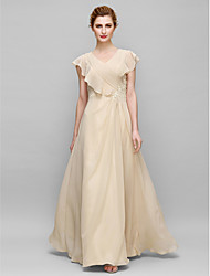 Sheath / Column Mother of the Bride Dress Floor-length Sleeveless Chiffon with Appliques / Criss Cross