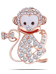 Lucky Monkey Brooches Hat Accessories Scarf Shoulder Decoration Rhinestone &Crystal Brooch Cute Animal Jewelry