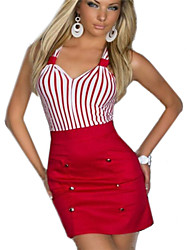 Women's Sexy Striped Bodycon Dress , Sweetheart Above Knee Cotton / Others