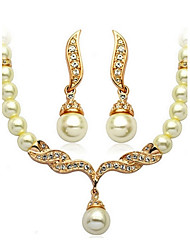 Crystal Jewelry Set Classic Elegant Unique Design Imitation Pearl Pendant Necklace Earrings Girlfriend Gift