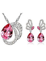 Jewelry Set Crystal Elegant Butterfly Pendant Necklace Earring Gift for Bride