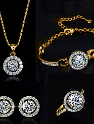 Jewelry Set Shining Crystal Elegant Bling Pendant Necklace Earring Ring Bracelet Gift for Bride(Assorted Color)
