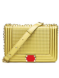 Women PU Sling Bag Shoulder Bag - Gold / Red / Black