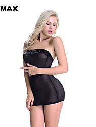 XFMAX Black Sequins Fishnet Mesh Hot Sexy Mini Dress Bodysuits Lingerie One Size