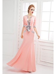 Mermaid / Trumpet Scoop Neck Floor Length Chiffon Formal Evening Dress with Bow(s) Sequins