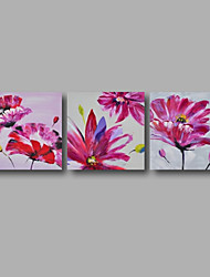 "Ready to Hang Stretched Hand-painted Oil Painting 72""x24"" Three Panels Canvas Wall Art Pink Roses Flowers"
