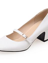 Chaussures Femme - Habillé / Décontracté - Noir / Rouge / Blanc / Amande - Gros Talon - Talons / Bout Carré - Talons - Similicuir