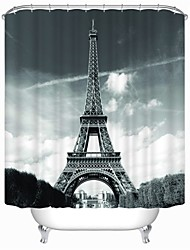 Eiffel Tower High Quality Fashion Modern Waterproof Anti Enzyme Shower Curtain