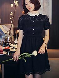 estilo coreano mulheres casuais / dia vestido de renda sólida, colarinho da camisa mini-algodão / poliéster
