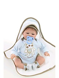 NPKDOLL Reborn Baby Doll Soft Silicone 18inch 45cm Magnetic Lovely Lifelike Toy Cute Boy Girl Smile Blue Blanket