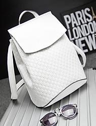 Women PVC Bucket Backpack - White / Red / Black