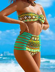 Bikinis / Tankinis Aux femmes Fleur / Taille Haute Soutien-gorge Rembourré Bandeau Polyester