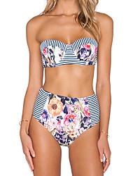 Women's Halter Bikinis , High Rise / Floral Padded Bras Polyester Multi-color