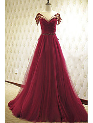 Formal Evening Dress A-line Scoop Court Train Tulle with Beading / Bow(s)