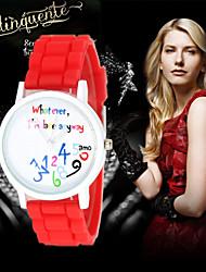 123 English Digital Geneva watch women dress watch Ladies quartz watch silicone watch Cool Watches Unique Watches