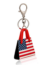 USA Flag Print Acrylic Bag Shape Keychain Best Gift for Girlfriend Women Favorite