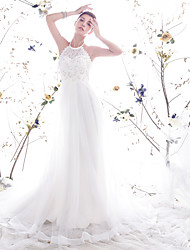 Lanting Bride A-line / Princess Petite / Plus Sizes Wedding Dress-Chapel Train High Neck Lace / Organza