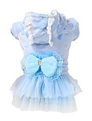 Chien Manteaux / Robe Bleu / Incanardin Vêtements pour Chien Hiver / Printemps/Automne Nœud papillon Mode / Garder au chaud